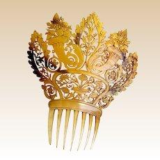 Regency period hair comb pierced amber steer horn Spanish style headdress