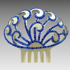 Art Deco blue rhinestone hair comb Spanish mantilla style hair accessory