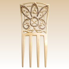 French Ivory Art Nouveau hair comb Spanish style hair ornament