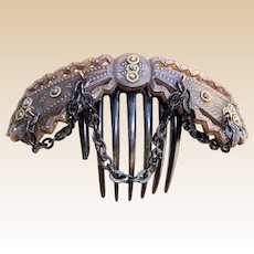 Victorian hair comb dyed steer horn with cut steel and dangling chains headpiece