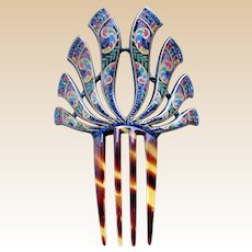 Egyptian Revival hand painted hair comb Art Deco hair accessory