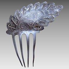 Victorian metal hair comb asymmetric pewter colour hair accessory
