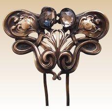 Art Nouveau hair comb or hair pin silver tone metal hair ornament