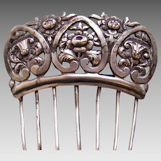 Victorian Spanish style hair comb repousee metal hair accessory