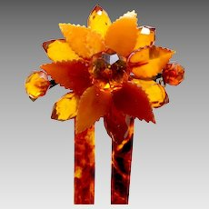 Victorian floral design hair comb faux amber hair ornament