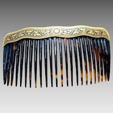 Late Victorian hair comb with Damascene work hair ornament
