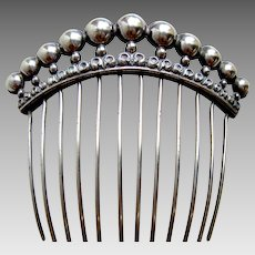 French sterling silver hair comb second empire hair accessory