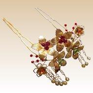 Matched pair of Japanese kanzashi hair pins bridal hair ornament