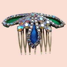 Mid Century hinged hair comb Hollywood Regency rhinestone hair accessory