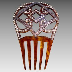 Spanish style hair comb Art Deco faux tortoiseshell hair accessory
