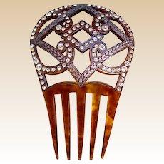 Spanish style hair comb Art Deco faux tortoiseshell hair accessory