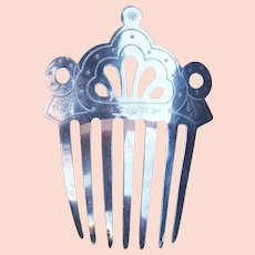 Victorian silver plated hair comb Spanish style hair accessory