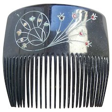 Victorian mourning hair comb engraved hair accessory