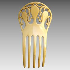 Art Deco French ivory hair comb openwork hair ornament