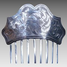 Early Victorian Engraved Silver Plated Hair Comb Hair Accessory