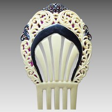 Art Deco black and white hair comb Spanish style hair accessory