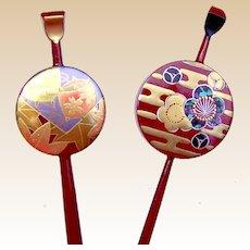 2 vintage Japanese kanzashi single pronged hair pins hair accessories (ABU)