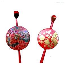 2 red lacquer hair pins vintage Japanese kanzashi hair accessories (ABV)