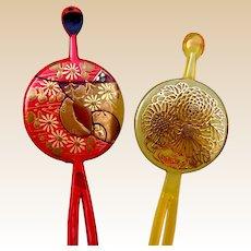 Two vintage Japanese kanzashi hair pins hair accessories (ABZ)
