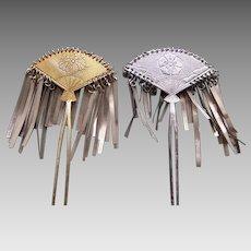 Two vintage metal hair accessories Japanese kanzashi hair pins (ADN)