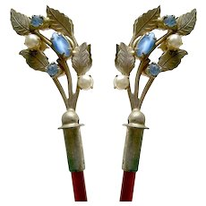 Matched pair of hair sticks with rhinestones hair accessories hair ornament