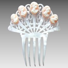 Art Deco Spanish hair comb mother of pearl effect with celluloid cameos hair accessory