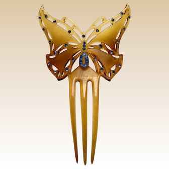 Art Nouveau hair comb figural butterfly celluloid hair ornament