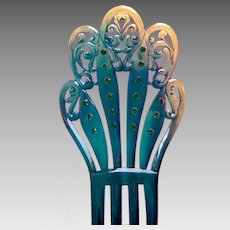 Art Deco parti coloured celluloid hair comb Spanish mantilla style hair accessory