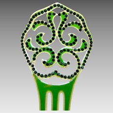 Green celluloid hair comb Art Deco Spanish style hair accessory