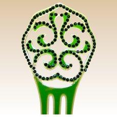 Green celluloid hair comb Art Deco Spanish style hair accessory