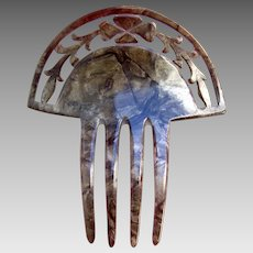 Art Deco hair comb mottled celluloid Spanish style hair ornament