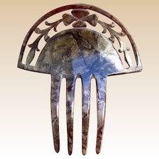 Art Deco hair comb mottled celluloid Spanish style hair ornament