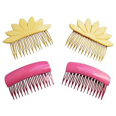 2 Matched pair celluloid hair combs 1980s retro hair accessories