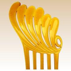 Art Deco amber celluloid hair comb Spanish style hair accessory