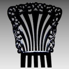 Victorian hair comb black celluloid Spanish style hair accessory