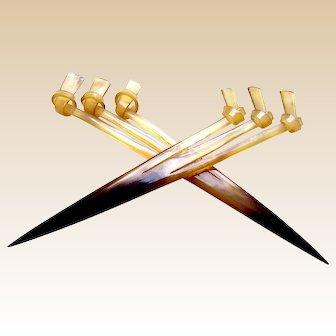 2 Single prong hair combs kanzashi style hair accessories