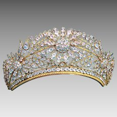 Regency tiara comb fire gilded crystal hair accessory