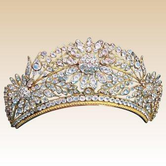 Regency tiara comb fire gilded crystal hair accessory