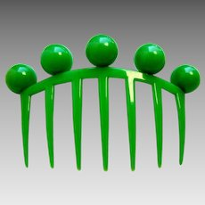 Auguste Bonaz signed hair comb Art Deco jade green hair accessory