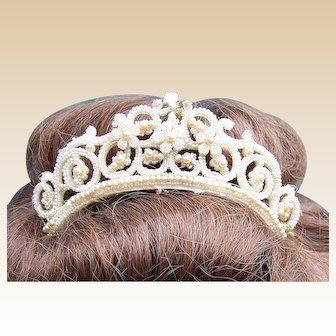 Late Georgian seed pearl tiara hair accessory