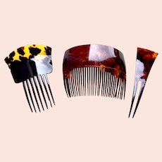Three late Victorian faux tortoiseshell hair combs hair accessories