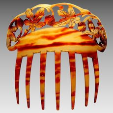 Art Nouveau hair comb faux tortoiseshell with carved leaves motif