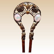 Art Nouveau gold tone metal hair comb with imitation opals