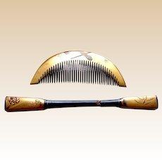 Gold lacquer Japanese kanzashi hair comb hair pin set hair ornament (ABM)