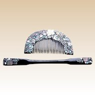 Vintage Japanese hair comb hairpin mother of pearl inlay (ABN)