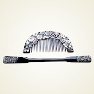 Vintage Japanese hair comb hairpin set mother of pearl inlay (ABO)