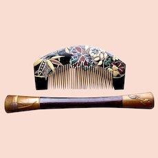 Vintage Japanese hair comb hairpin kanzashi lacquer hair accessory (ABP)