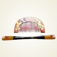 Japanese kanzashi comb and hairpin set in red and gold lacquer (ABQ)