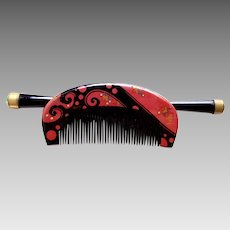 Vintage Japanese hair comb hairpin kanzashi lacquer hair accessory (ABR)