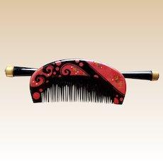 Vintage Japanese hair comb hairpin kanzashi lacquer hair accessory (ABR)
